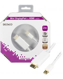 DELTACO mini DisplayPort till HDMI kabel med ljud, ha-ha, 2m, vit