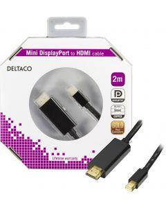 DELTACO mini DisplayPort till HDMI kabel med ljud, ha-ha, 2m, svart