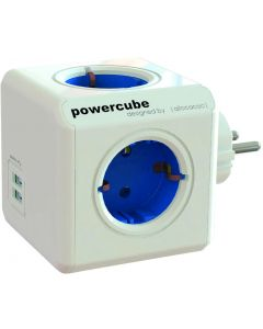 PowerCube Original 4 uttag, 2 USB, Blå