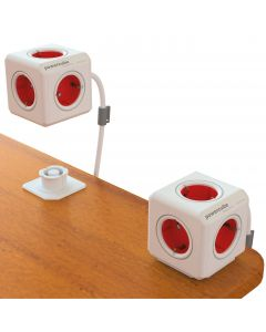 PowerCube Extended 5 uttag 1,5m, Röd