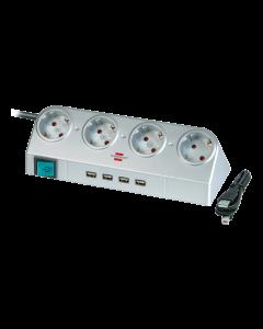 Brennenstuhl Desktop-Power, 4xCEE 7/4. 1xCEE 7/7, 4xUSBTyp A, silver