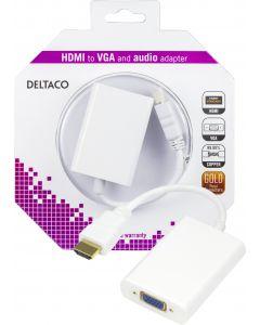 DELTACO HDMI till VGA-adapter, 19-pin ha - 15-pin+3,5mm, 0,2m, vit