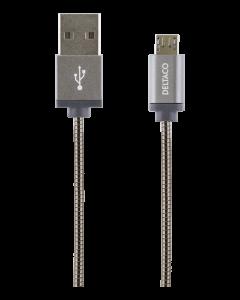 STREETZ USB Typ A ha - Micro B ha, metallklädd, 1m, USB 2.0, rymdgrå