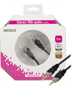 DELTACO ljudkabel 3,5mm ha - ha, guldpläterad, 5m