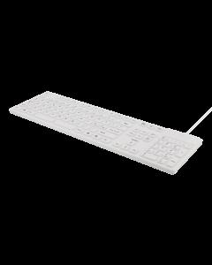DELTACO tangentbord i silikon, IP68, full storlek, 105 tangenter, vit