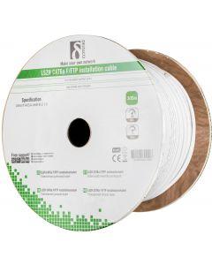 DELTACO F/FTP folieskärmad inst.kabel, Cat6a, LSZH, 305m rulle, vit