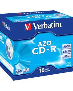 Verbatim CD-R, 52x, 700 MB/80 min, 10-pack jewel case, AZO, Crystal