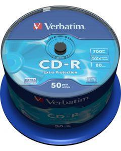 Verbatim CD-R, 52x, 700 MB/80 min, 50-pack spindel, Extra protetcion