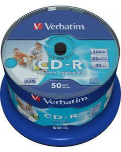 Verbatim CD-R, 52x, 700 MB/80 min, 50-pack, spindel, AZO, printable