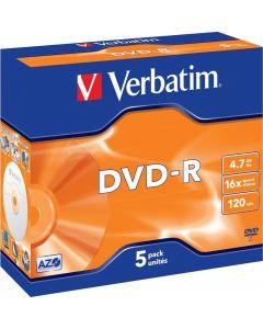 Verbatim DVD-R, 16x, 4,7 GB/120 min, 5-pack jewel case, AZO