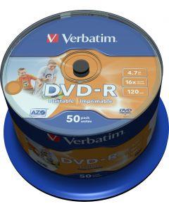 Verbatim DVD-R, 16x, 4,7 GB/120 min, 50-pack spindel, AZO, printable