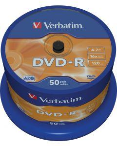 Verbatim DVD-R, 16x, 4,7 GB/120 min, 50-pack spindel, AZO