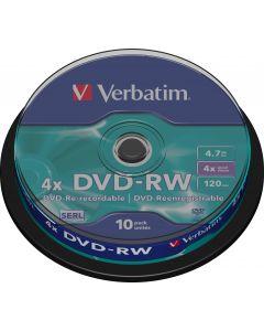 Verbatim DVD-RW, 4x, 4,7 GB/120 min, 10-pack spindel, SERL