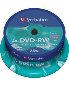 Verbatim DVD-RW, 4x, 4,7 GB/120 min, 25-pack spindel, SERL