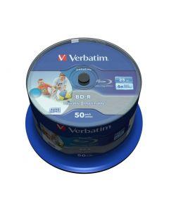 Verbatim BD-R, 6x, 25GB/200tim, Wide Inkjet Printable, 50-p spindel