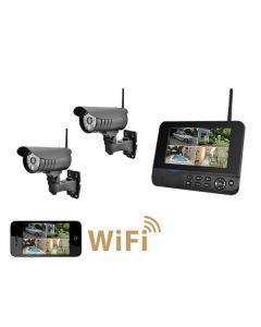 DVR kit med 7tums monitor och 2 st trådlösa IP kameror för utomhusbruk
