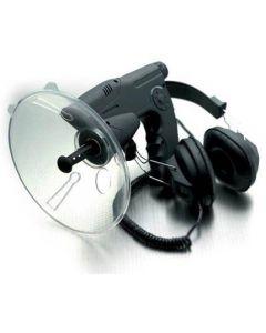 Parabolmikrofon med kikare och hörlurar