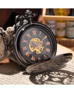 Retro pocket watch, romerska siffror, mörk metall