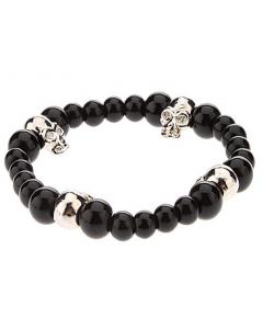 Black Skull, armband med svarta pärlor och döskalle