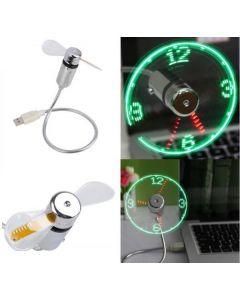 USB-fläkt med LED-ljus som visar klockan