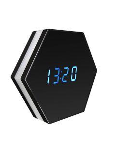 FullHD spionbordsklocka med spegel och RGB-list, WiFi, 140°, IR-nightvision, Push-larm