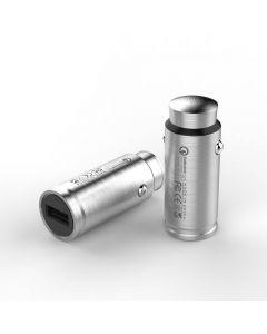 Bulletcharger Slim, 12V Snabbladdare i rostfritt stål för bilen, Quick Charge 3.0, LED-indikator