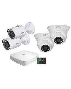 Dahua NVR2104-P-4KS2, FullHD NVR PoE kit, 4 st IP-kameror, 30m IR, IP67, 1 TB