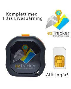 ezTracker Portabel GPS Tracker, 1 års gratisspårning i EU, vattentät