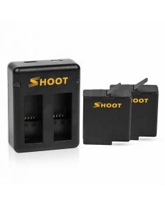 Dubbel batteriladdare för GoPro Hero 7 Black / Hero 6 / Hero 5, inkl. 2 batterier, 1220 mAh, AHDBT-501