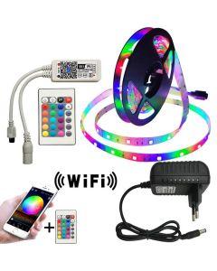 Premium RGB LED-list 2835, 5 meter, fjärrkontroll, android & iOS