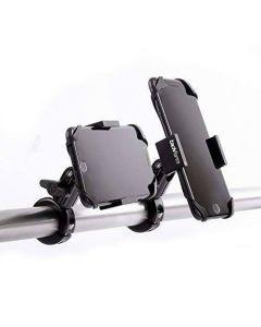 Mobilhållare för motorcykel i anodiserat 6061-aluminium, extra kraftigt fjädergrepp, roterbar