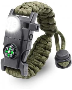 Paracord Överlevnadsarmband, Kompass, SOS Lampa, Multiverktyg för Överlevnad, Kamouflage