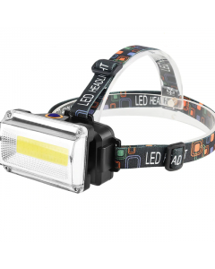 Kraftfull Pannlampa, 600 Lumen, COB LED, Uppladdningsbar, Batteriladdare, 3 Lägen
