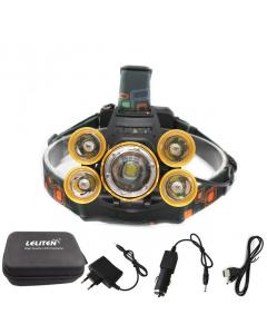 Laddningsbar LED Pannlampa för Löpning & Orientering, 5 Lampor, IPX4, Zoom, Batterier