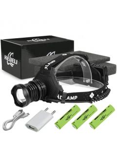 Professionell Pannlampa, Kraftfull XHP90.3 LED, 7 Lägen, Teleskopisk Zoom, Uppladdningsbar