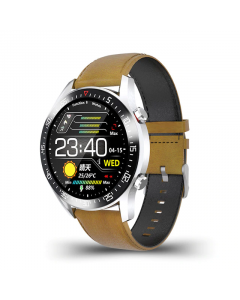 SmartWatch Sport LIGE 2020 Leather, Fitness tracker, Bluetooth, IP68 Vattentät, Blodtrycksmätare