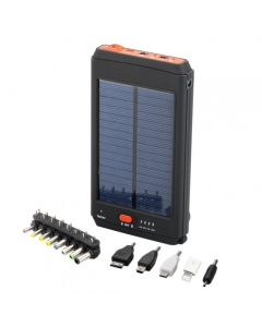 Kraftig Powerbank med inbyggd Solcellspanel, LED-ficklampa och adapterkit