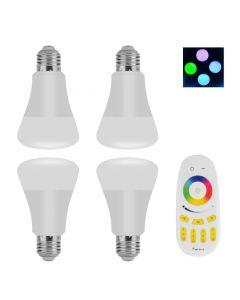LED-paket 4x RGB e27 med fjärrkontroll, 500 lumen, 30000 h