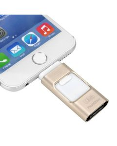 Multifunktionellt 64 GB USB-minne med direktanslutning till iPhone, Android och USB, kryptering