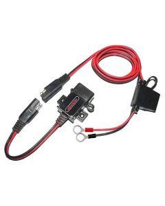 Vattentät USB-laddare för motorcykel, 1 port, 3.1A, SAE till USB