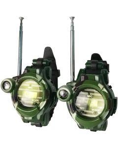 Walkie Talkie Klockor, 2-pack, Kamouflage med Kompass och Förstoringsglas