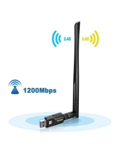 Inamax 802.11AC WiFi-dongel med kraftfull extern antenn, 5 dBi, Dual Band 5G