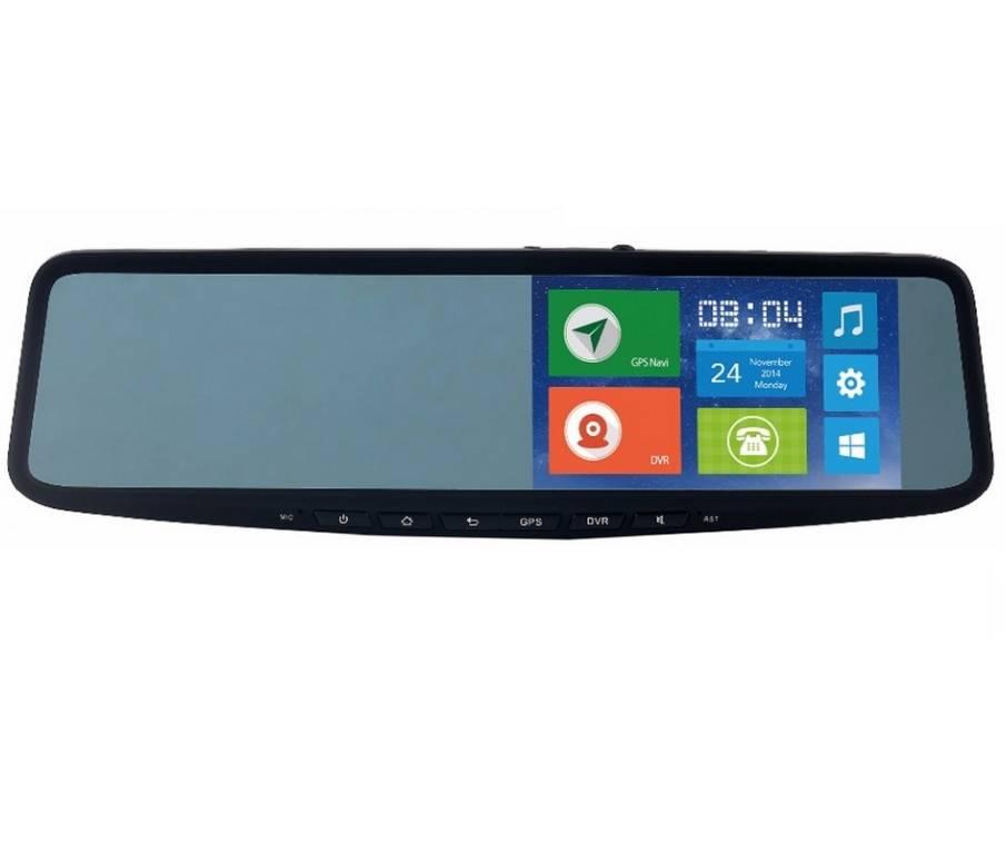"""Smart Androidbaserad bilkamera, backspegel, backkamera, 3G, GPS, 5"""" skärm, dubbla kameror, 1080p, 140°"""