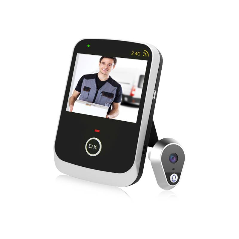 """Trådlöst dörröga / titthålskamera, handhållen monitor med 3.5"""" skärm, 200 m. uppsyn"""