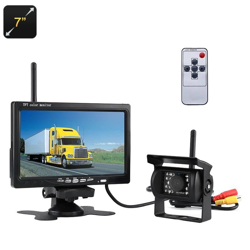 """Trådlös backkamera BK18PRO, 7"""" display, IR-LED, 120°, 100 m räckvidd, fjärrkontroll"""