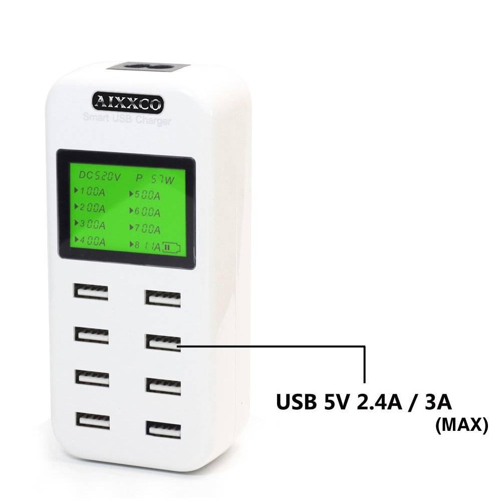 Smart USB laddare med 8 st snabbladdnings portar, display, överspänningsskydd