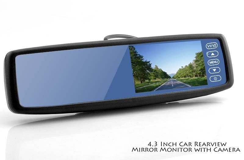 """Backspegelkamera med 4.3"""" display, 2x Video in, Högtalare, 135 grader vidvinkel, vattentät kamera"""